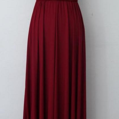 Burgundy Halter Chiffon Wedding Bri..