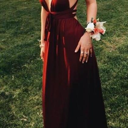 Sexy Wine Long Prom Dresses Evening..