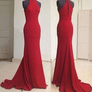 High Neck Red Mermaid Long Prom Dre..