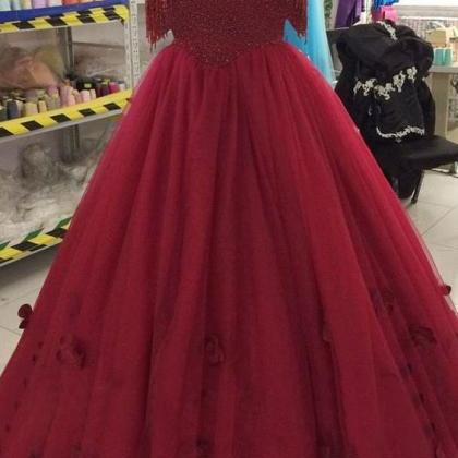 Elegant Burgundy Ball Gowns Tulle P..