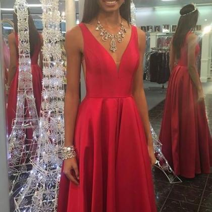 Elegant V Neck Red Long Prom Dresse..