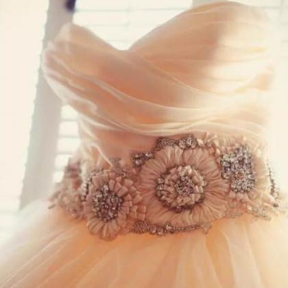 Blush Pink Ball Gown tulle Sweethea..