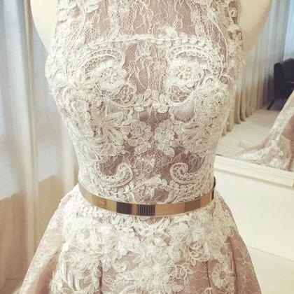 Crew Neck Long Gold Sash Wedding Dr..