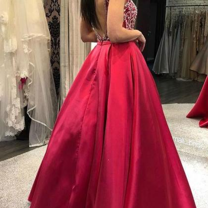 Square Backless Prom Dresses with B..