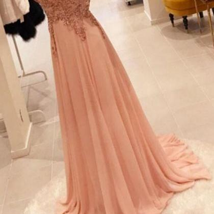 Sweep Train Chiffon Pear Pink Long ..