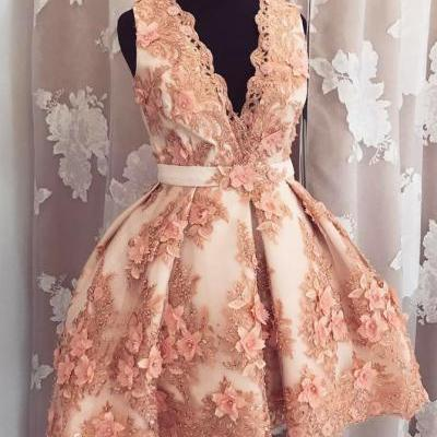 New Arrival Deep V Neck Homecoming Dresses Prom Dresses with Appliques Flowers