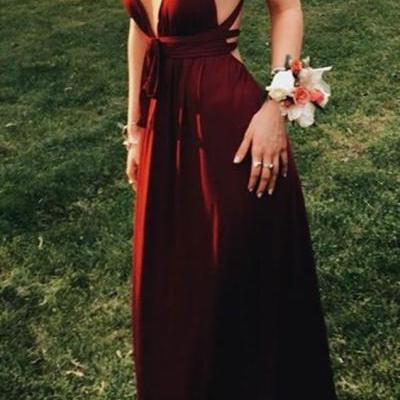 Sexy Wine Long Prom Dresses Evening Dresses for Women