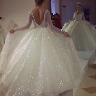 Sparkly Backless Long Sleeves White Wedding Dresses Bridal Gowns