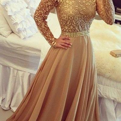 Elegant Long Sleeves gold Prom Dresses Long Evening Dresses for Women
