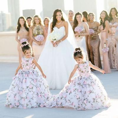 Floral Cute Flower Girl Dresses with 3D Flowers