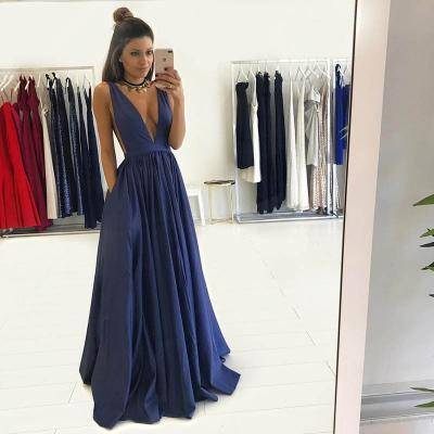 Sexy Dark Royal Blue Deep V-Neck Long Prom dresses, Evening Dresses