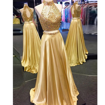 Sexy Gold Two Piece Beaded Prom Dress, Evening Dress for Women