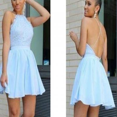 Short Light Sky Blue Criss Cross Homecoming Dresses, Prom Dresses, Party Dresses for Women