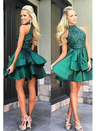 9d8e093c6e2 Olive Green Short Beaded Homecoming Dresses Prom Dresses Party Dresses
