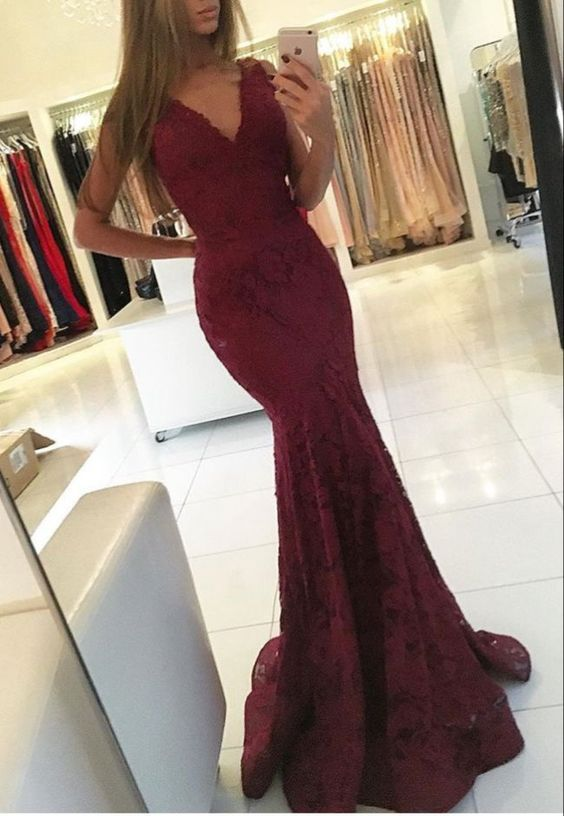 Hot Sell Burgundy V Necl Lace Mermaid Prom Dresses Evening Dresses