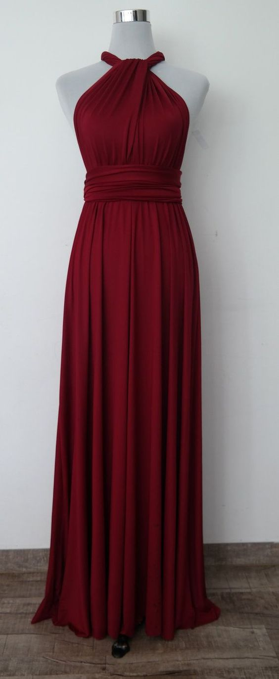 Burgundy Halter Chiffon Wedding Bridesmaid Dress Prom Dresses Under 100