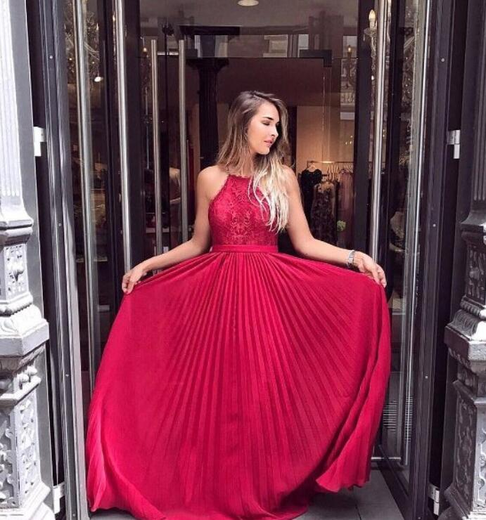 Red Halter Lace Appliqués A-line Long Prom Dress, Evening Dress Featuring Pleated Skirt