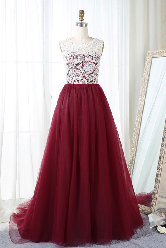 Elegant Tulle Burgundy Long Prom Dresses Birthday Dresses
