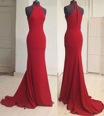 High Neck Red Mermaid Long Prom Dresses Evening Dresses for Women