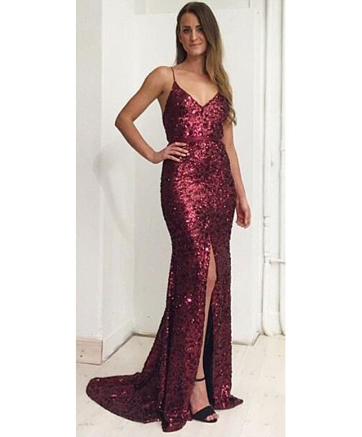 Sexy Spaghetti Straps Sequined Burgundy Split Side Prom Dresses Evening Dresses with Sash