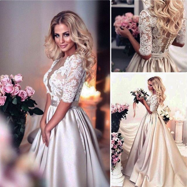 Sheer Neck Deep V Neck 3/4 Long Sleeves Champagne Long Wedding Dresses Bridal Gowns