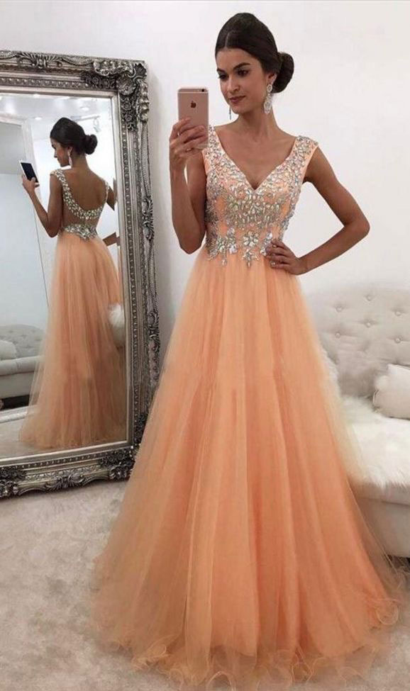c859c572026 V Neck Light Orange Tulle Long Prom Dresses with Rhinestone Evening Gowns