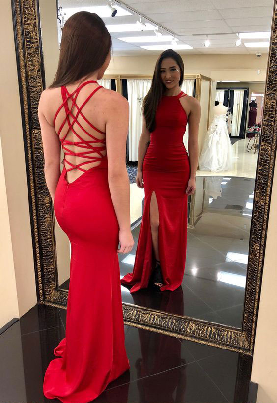 Elegant Red Criss Cross Sheath Long Prom Dresses Evening Dress with Split Side