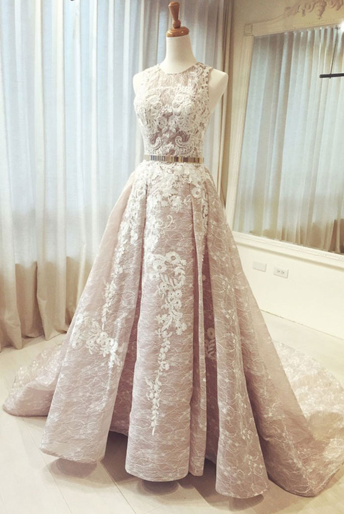 Crew Neck Long Gold Sash Wedding Dresses Bridal Dress for Wedding