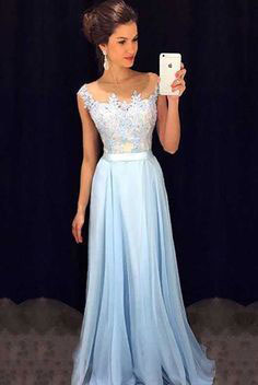 Elegant Hot Sell Long Prom Dresses with Appliques for Women