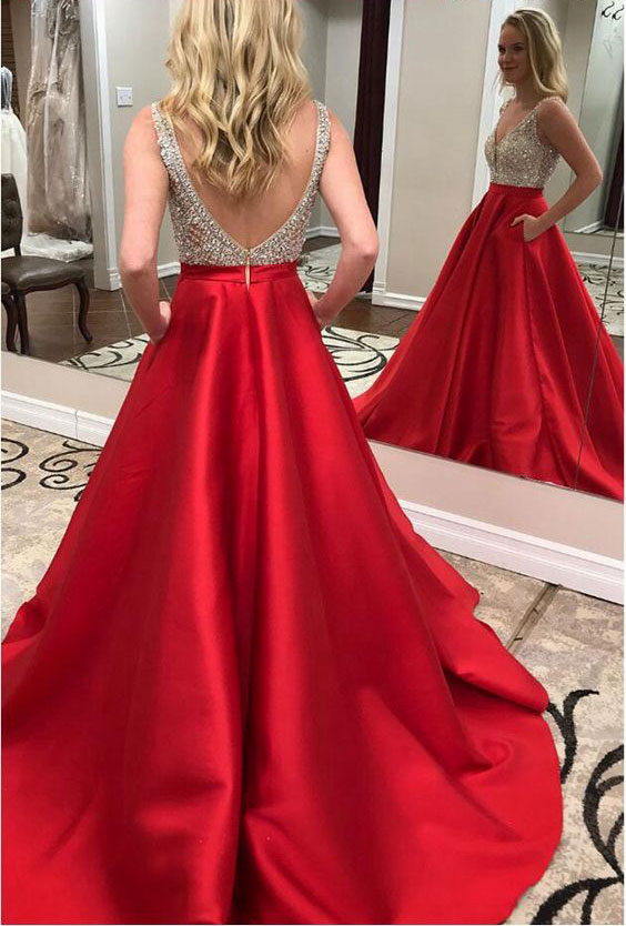 Sparkly Red Beaded Long Prom Dresses with Pockets Evening Gowns for Women
