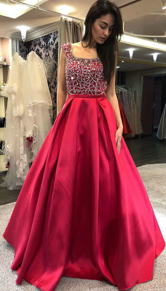 Square Backless Prom Dresses with Beaded Evening Dresses with Pockets