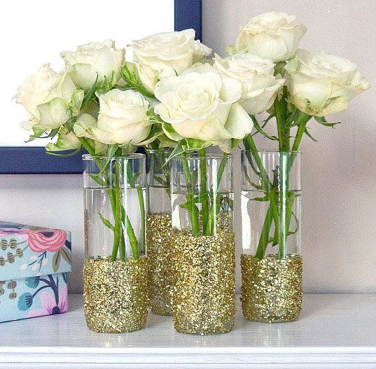 Mason Jar for Wedding Party with Silver Sequins without Flowers