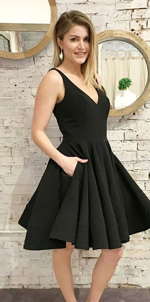 V Neck Short Homecoming Dresses Black Under 100 for Women