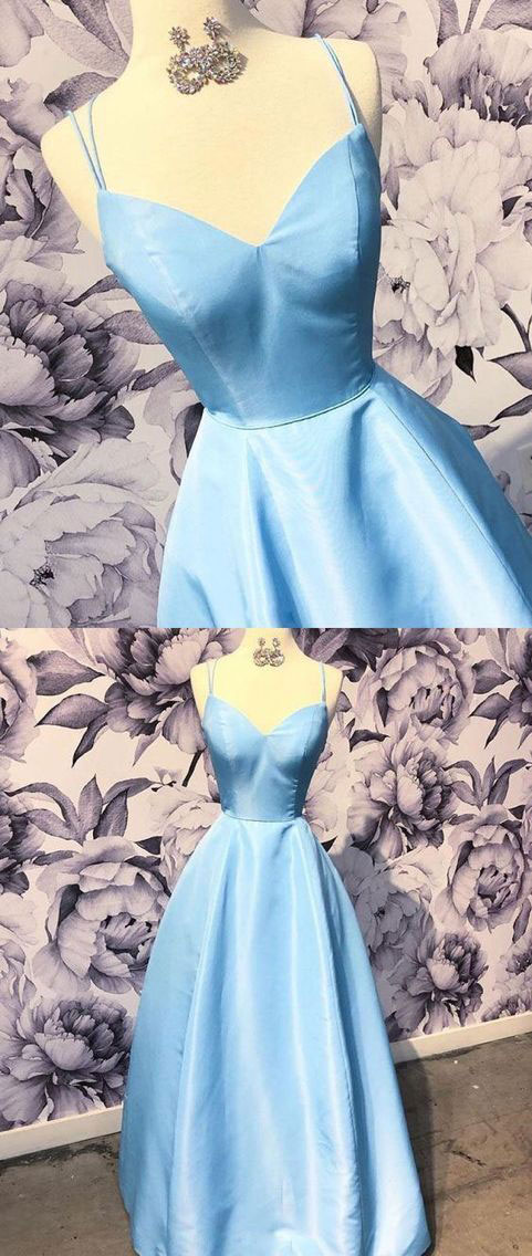 Sky Blue Spaghetti Straps Long Prom Dresses for Women