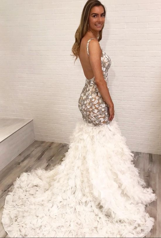 Mermaid Backless Straps Prom Dresses Evening Dresses with Appliques Lace