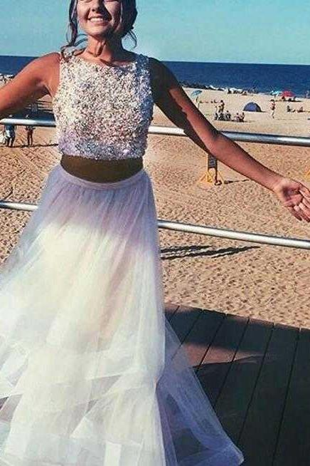 Sexy White Two Piece Prom Dresses Homecoming Dresses Evening Dresses Wedding Party Dresses for Women