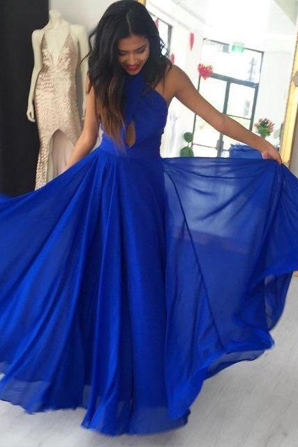 Sexy Chiffon Halter Keyhole Long Prom Dresses Evening Dresses for Women