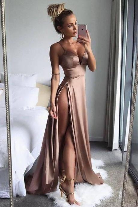 Sexy Spaghetti Straps High Split Side Long Prom Dresses Evening Dresses Party Gowns Formal Dresses