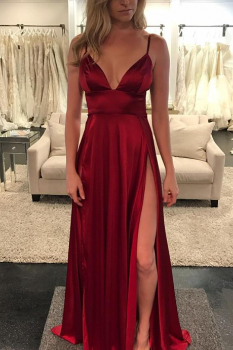Sexy Long Spaghetti Straps Burgundy Prom Dresses Evening Dresses for Women with Split Side