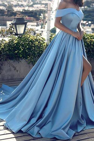 Off the Shoulder Blue Long Prom Dresses with Split Side, Dresses for Women, Prom Dresses for Women, Evening Dresses