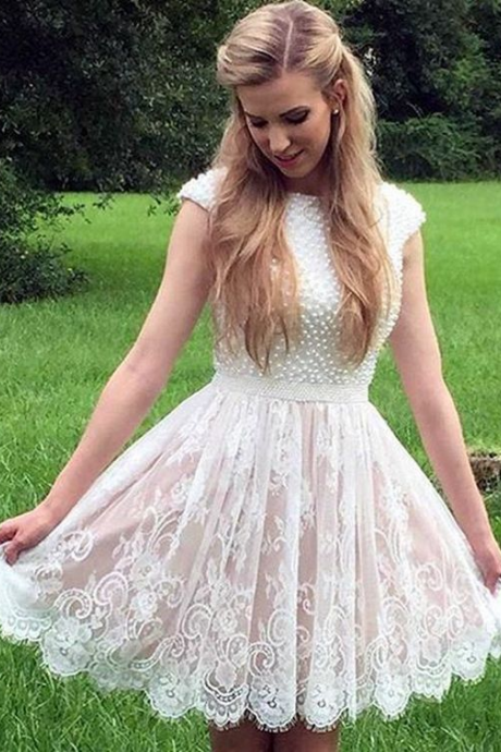 Cap Sleeves Short Lace Homecoming Dresses for Junior with Pearls
