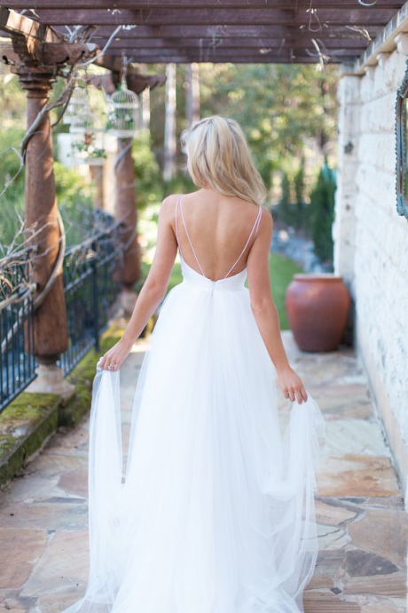 White Backless Beach Wedding Dresses, Beach Bridal Gowns, Long Wedding Dresses White