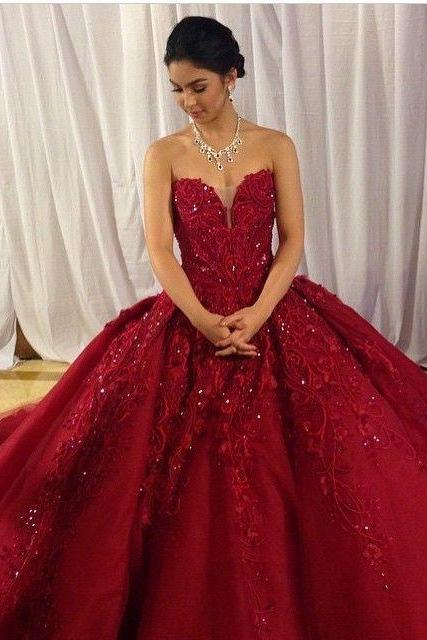 Luxurious Dark Red Burgundy Prom Dresses Quinceanera Dresses Birthday Dresses with Appliques Beaded