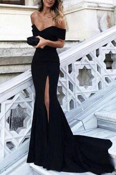 Off the Shoulder Split Side Long Prom Dresses Evening Dresses for Women