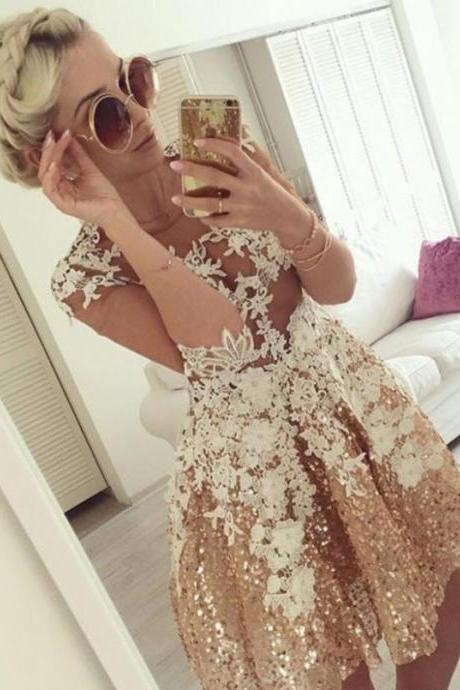 New Arrival Short Rose Gold Homecoming Dresses with Lace Appliques