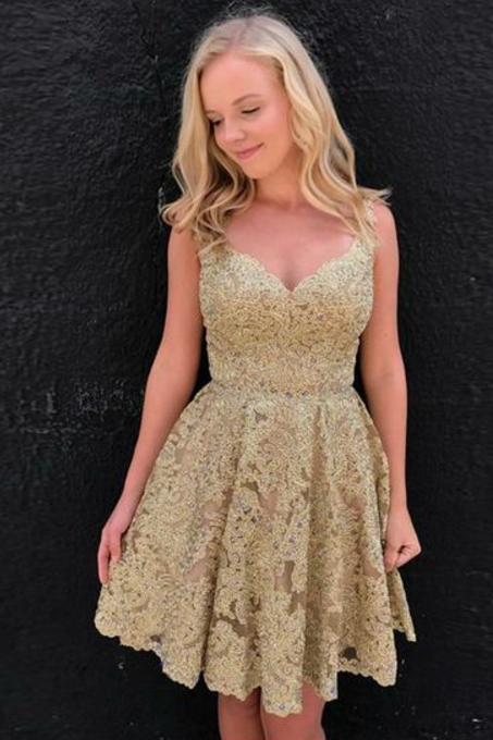 Gold Lace Appliques Homecoming Dresses Short, Prom Dresses short for Women, Women's Homecoming Dresses