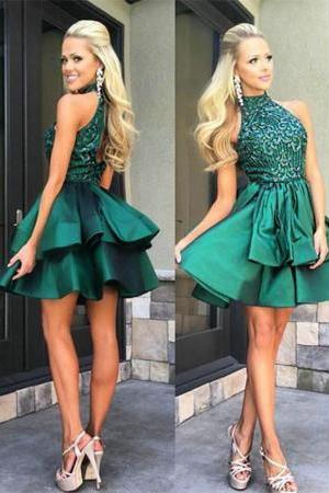 Olive Green Short Beaded Homecoming Dresses Prom Dresses Party Dresses