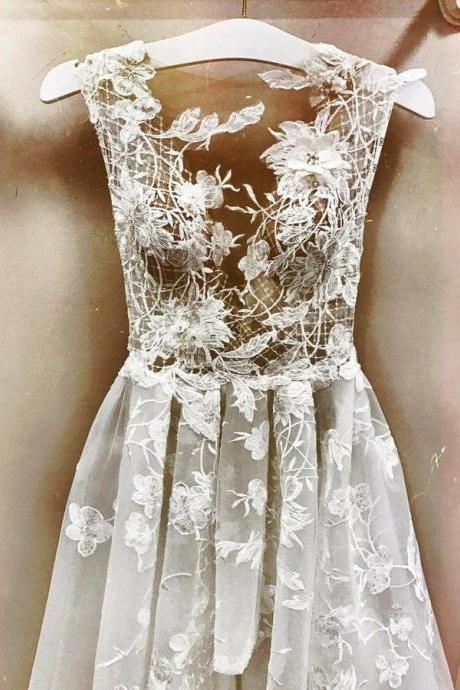 High Quality Long V Neck Prom Dresses, Evening Dresses, Party Gowns Prom with Appliques Lace