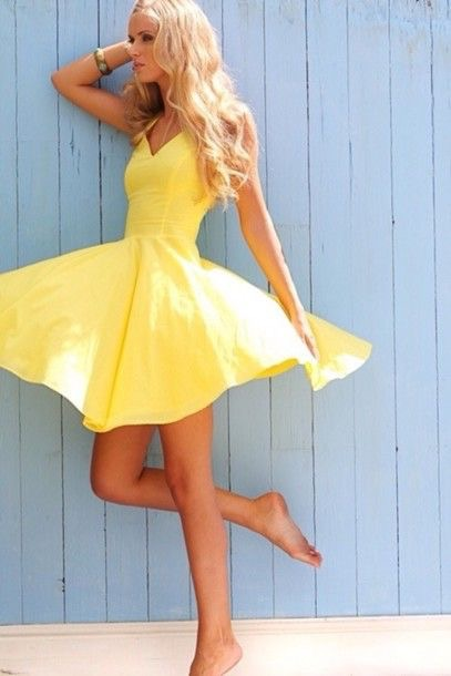 Slim Short Yellow Homecoming Dress Short/Mini Prom Dresses for Women