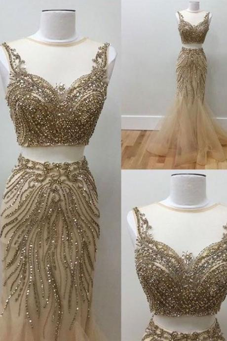 Sexy Two Piece Tulle Champagne Mermaid Beaded Prom Dress Evening Dress for Women